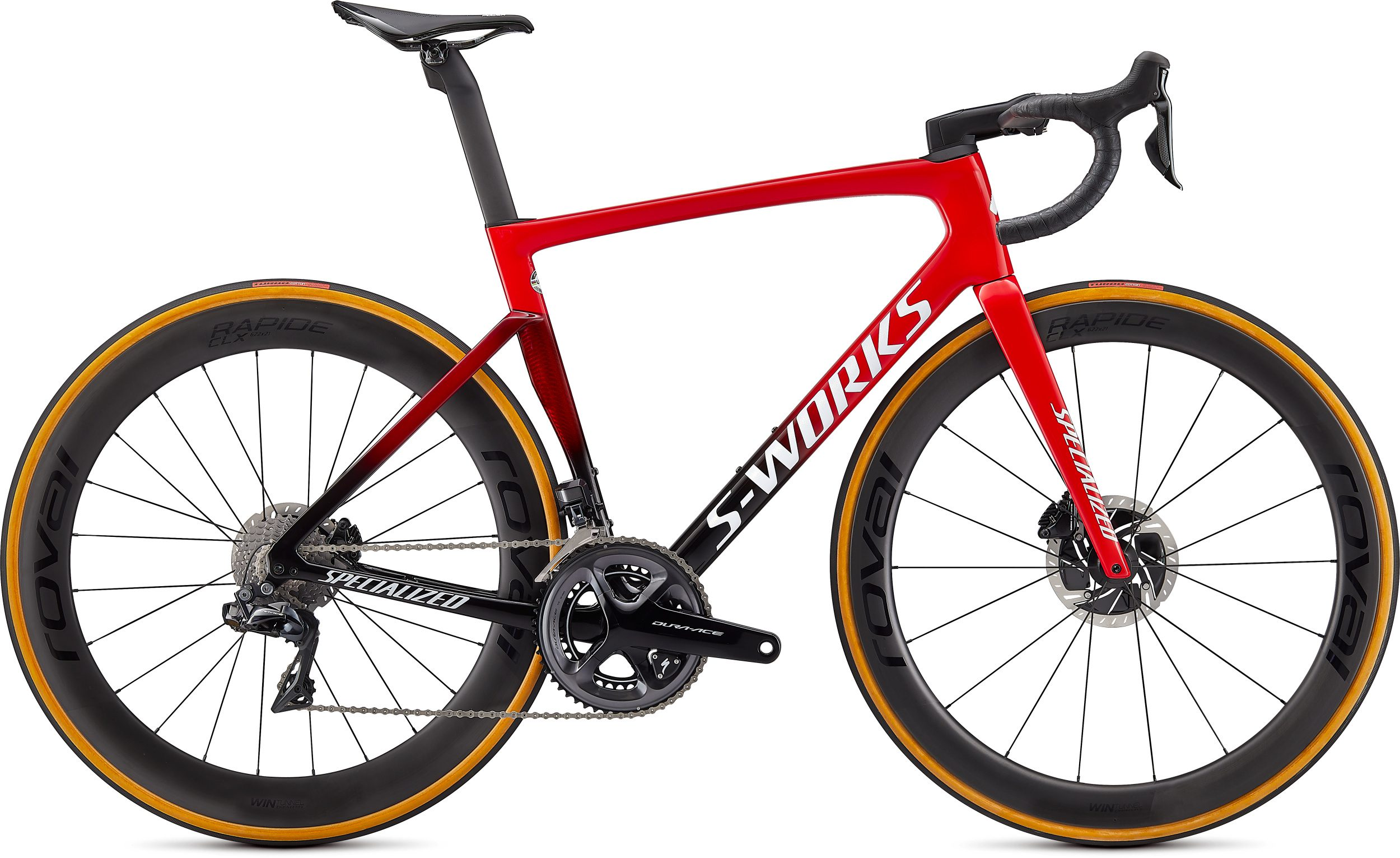 Specialized S-Works Tarmac SL7 - Dura Ace Di2 2021 Frontansicht in der Farbe Flo Red/Red Tint/Tarmac Black/White