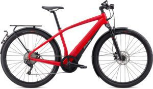 Specialized Turbo Vado 6.0 2021 Frontansicht Flo Red W/Blue Ghost Pearl