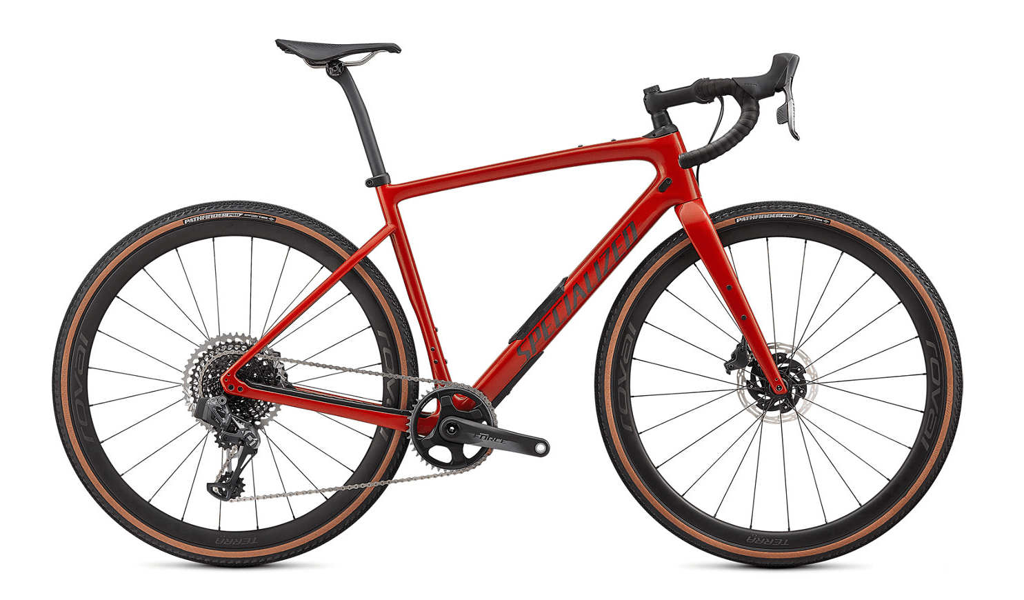 Specialized Diverge Pro Carbon 2021 Frontansicht in der Farbe Gloss Redwood/Smoke/Chrome/Clean