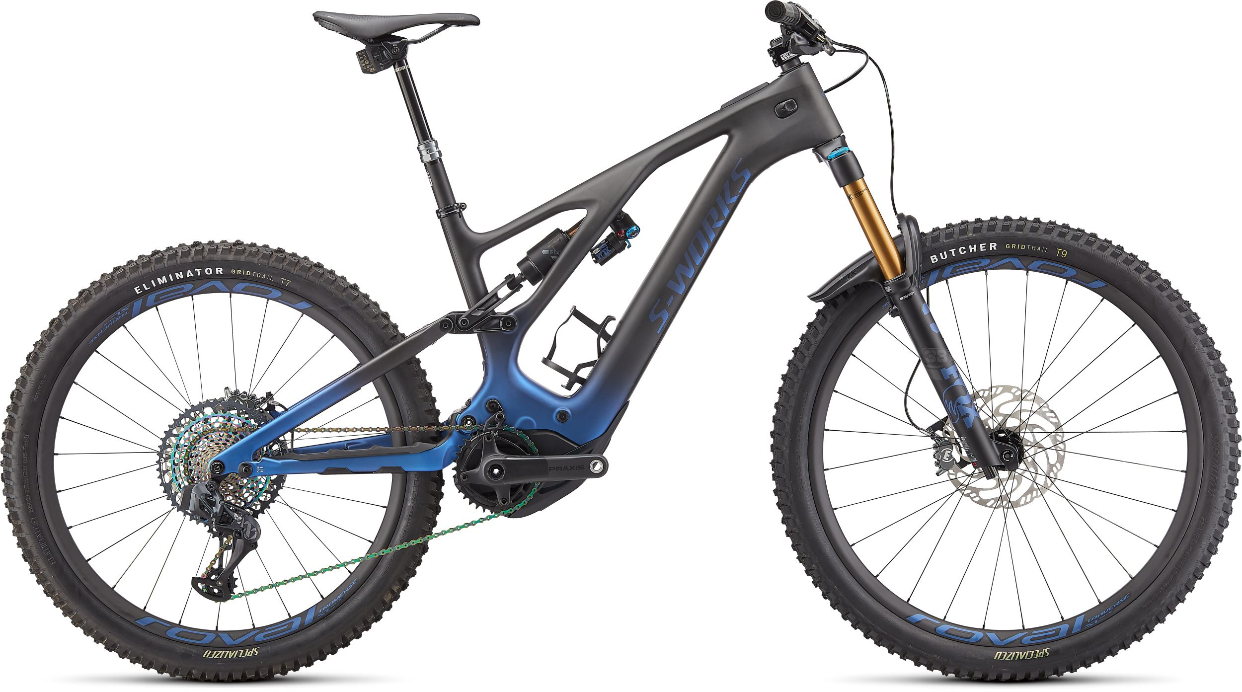 Specialized Turbo Levo S-Works 2022 Frontansicht in der Farbe Blue Ghost Gravity Fade / Black / Light Silver